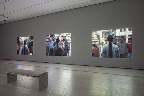 A Needle Woman, Patan (Nepal), Havana (Cuba), Rio de Janeiro (Brazil), N'Djamena (Chad), San'a (Yemen), Jeruzalem (Israel), 2005, 6 channel video projection, 10:40 minutes / Courtesy of Kimsooja Studio, Installation view